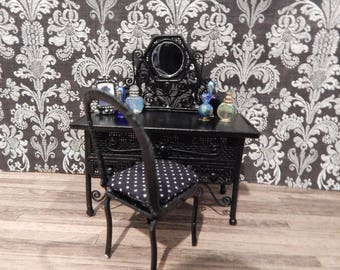 Great Gothic Black Vanity With Chair Victorian Ornate Wicker Look Dollhouse  Furniture Miniature Vanity Dollhouse Dresser