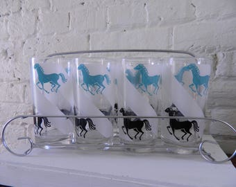 Vintage Libbey Glasses In Carrier Horses Black And Turquoise/Blue