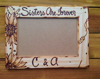 Sisters Wood Frame - Sisters are Forever - Sunflowers  Birthday Gift Christmas - Holiday - Wedding - Sister in Law - Engagement - Farmhouse