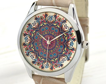 Women's Watch With Flower Pattern   Boho Style Watches for Women   Birthday Gift for Wife   Women Jewelry   Gifts for Her   FREE SHIPPING