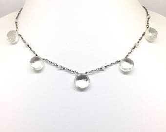 Rock Crystal Shield Necklace - gift for her - bride or bridesmaid jewellery - facted drops