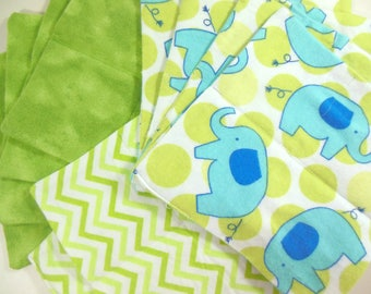 Cloth Wipes, Washcloths, Burp Cloths, Handkerchiefs, Cleaning Cloths in Elephants, Chevron, & Green Prints Set of 12