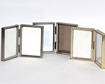 """Small Hinged Picture Frames with Glass   Wallet Snapshot Frames   Set 3 Vintage Double Frames 3.5"""" x 2.5""""   Gold Tone Metal Frames 6 Photos"""
