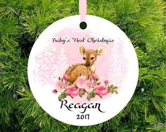 Fawn Ornament Baby's First Christmas Ornament Baby Girl ornament Deer Personalized Christmas Ornament Baby Shower Gift Deer Ornament Doe