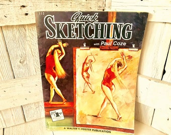 Vintage book Quick Sketching with Paul Coze art instruction Walter Foster 1950s- free shipping US