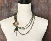 Upcycled Statement Necklace- Steampunk Necklace- STeampunk Jewelry- Vintage Repurposed Necklace- Steampunk Clothing- Shabby Chic Necklace