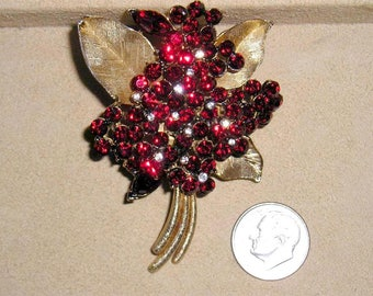 Vintage Unsigned Ciner Elegant Flower Brooch With Dark Red Crystal Rhinestones 1960's Jewelry 7099