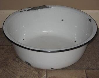 Vintage Large Porcelain Enamel Ware Pan Wash Basin Bowl White Black Trim