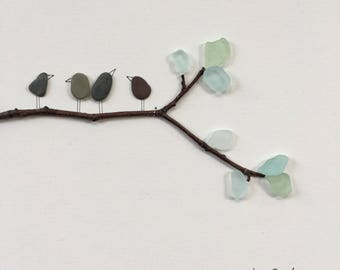 Pebble Art by Sharon Nowlan, Birds on a branch sea glass and  pebble art comes matted or framed in 12 by 12 frame.