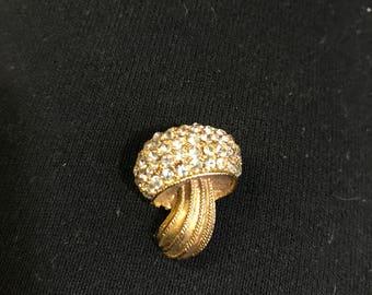 Mushroom Brooch Gold Tone with Diamond Rhinestones, Domed Mushroom Brooch, Mushroom Pin, Costume Jewelry, Toadstool Brooch, Summer Brooch