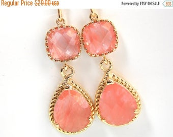 SALE Coral Earrings, Peach Earrings, Grapefruit, Gold, Wedding Jewelry, Bridesmaid Jewelry, Bridesmaid Earrings, Bridal Jewelry, Bridesmaid