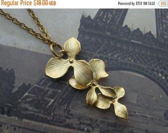 SALE Orchid Flower Necklace, Matte Gold Finished, Gold Orchid Pendant, Gold Flower Necklace, Bridesmaid Gifts, Bridesmaid Necklace, Bridal