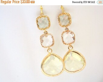 SALE Yellow Earrings, Glass Earrings, Clear Earrings, Jonquil, Bridal Earrings, Bride Earrings, Gold, Bridesmaid Earrings, Bridesmaid Gifts