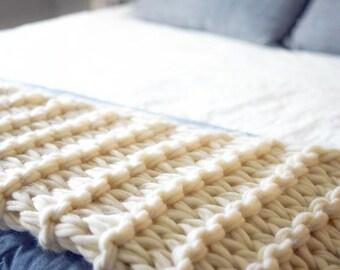 Arm Knit Garter Stitch Blanket