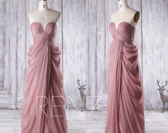 Bridesmaid Dress Dusty Rose Sweetheart Wedding Dress, Strapless Prom Dress, Asymmetric Draped Evening Gown Floor Length (T165)