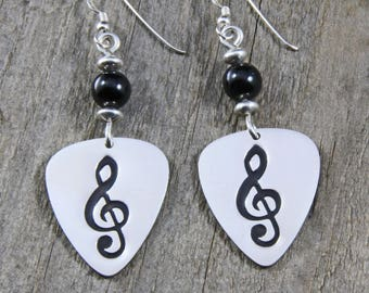 Sterling Silver Guitar Pick Earrings, with Black Onyx