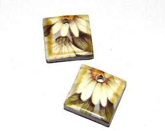 Ceramic Earrings Charms Pair Handmade Rustic Daisy Floral