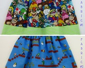 Nintendo Mario Skirt or Dress - Officially Licensed Nintendo Fabric Baby Infant Toddler Girls Ladies Mario Skirt or Dress - Mario Birthday