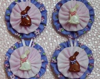 Chocolate Bunnies Yo Yo Ornaments - set of 4