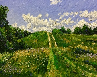 "Original Impressionist Impasto oil ""The Steep Climb"" 11x14"