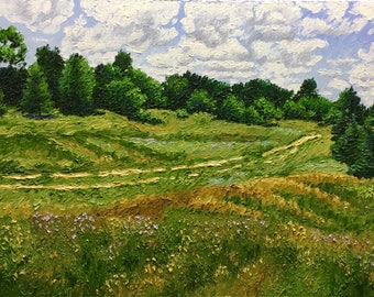 "Original Impressionist Impasto Oil Landscape ""Road through The Meadow"" 18x24"