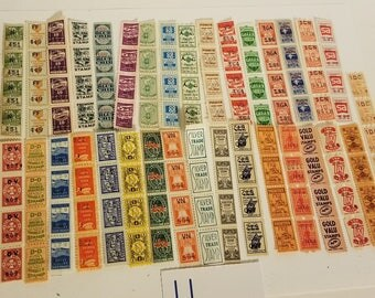 Ll 128 colorful savings trading stamps sample pack 32 different kinds in strips of 4  ephemera Vintage paper supplies