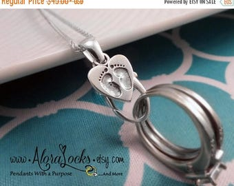 SUMMER SALE AloraLocks Small Expectant Mommy Baby Feet Ring & Charm Holding Pendant
