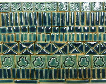 165+ Handmade Ceramic Mosaic Tile Pieces Ceramic Tile Stoneware  Teal, Turquoise Slate Blue Tones Craft Tiles Assortment #6