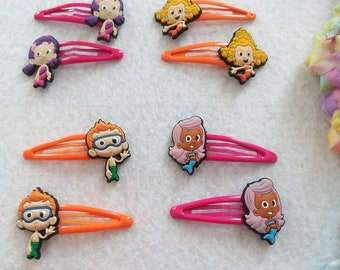 Set of 4 pairs of Bubble Guppies hair clips