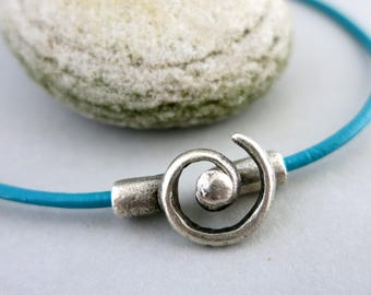 2 Pewter Spiral Clasps,  2mm Glue In Clasps, Mykonos Pewter Metal Casting,  Lead Free Metal, Made in Greece