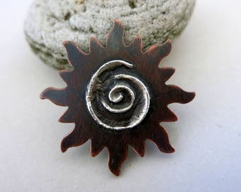 Melted Silver on Copper Sun, Reticulated Silver, Mixed Metal Pendant, Lot 4