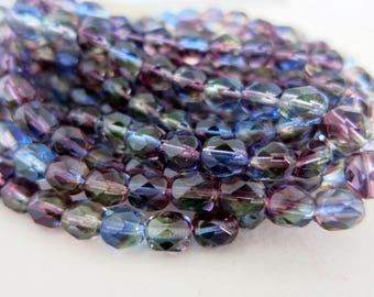 6mm Purple Sky Czech Glass Beads, Boho Faceted Beads, Faceted Beads,  Full Strand 25 Beads, Ready to Ship