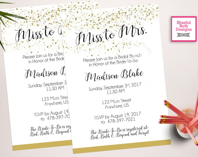 MISS TO MRS. Bridal Shower, Bridal Shower, Miss to Mrs., Gold and Black Bridal Shower, Gold Glitter Bridal Shower