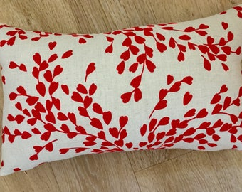 RED love heart, linen cushion cover. Red leaf print, CHERRY RED linen, modern print designer fabric by Romo. Natural linen pillow, Red cover
