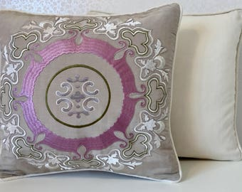 EMBROIDERED pink accent cushion cover PINK silk pillow Beige linen pillow White cushion Osborne and Little Designer fabric MoGirl DESIGNS