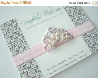 SALE Pink Pearl Rhinestone Crown Headband - Newborn Baby Infant Toddler- Birthday Wedding - Photo Prop - Valentines Day