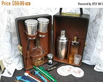On Sale Vintage Portable Pub Travel Bar-  Retro Cool Barware Set - 1960's Man Cave Home Decor Mid Century Modern Industrial