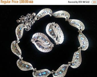 Now On Sale Vintage Signed BSK AB Rhinestone Necklace & Earrings Parure Mid Century 1950's Collectible Mad Men Mod Black Tie Formal Accessor