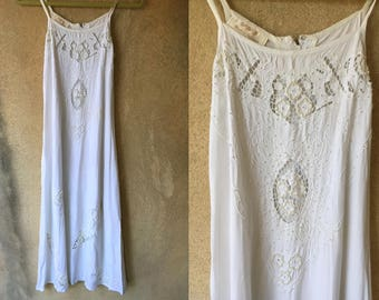 White BEADED Cut Out Wedding Summer Strappy Hippie Bohemian Long Dress