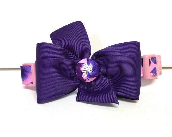 Featured listing image: Dog Collar- The Spring Pansies- Collar with removable bow- Adjustable collar