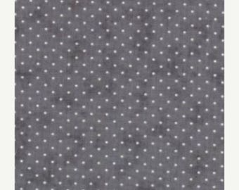 20% off thru 2/22 ESSENTIAL DOTS Moda by the half yard cotton quilt fabric cream dots on GRAPHITE grey gray 8654 122
