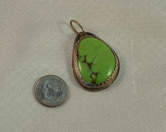 Southwestern Green Mojave Turquoise and Sterling Pendant