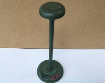 vintage green wood hat stand