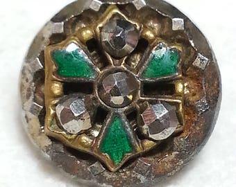 Wonderful Antique Openwork Brass on Steel Button ~ Triad Design with Green Enamel and Cut Steels ~ 1/2 inch 12mm ~ Grammys Buttons