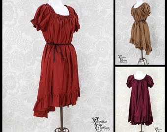 Steampunk Renaissance Ragamuffin Dress with Cora Sleeves in Cotton -- Custom Made in Your Size and Color Choice