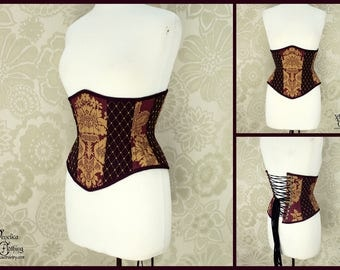 Steampunk Renaissance Plum & Gold Steel Boned Corset - You Choose Your Corset Style - Custom Sized