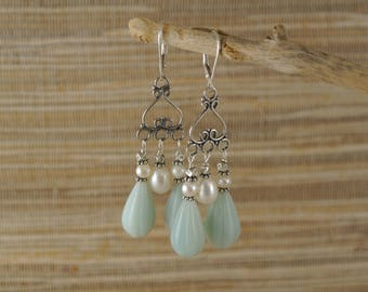 Amazonite, Freshwater Pearl, and Sterling Silver Chandelier Earrings