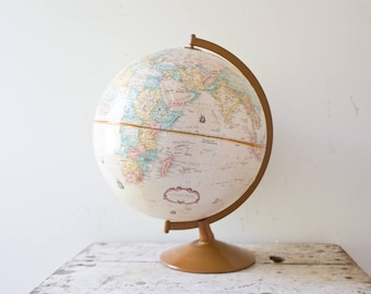 Vintage World Sepia White Antique Globe - Vintage Globe World Map 1960s Brown Sepia Colors Metal Base Crams