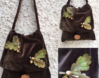 Woodland Brown Oak Leaf Messenger Bag-Velvet Bag-  pixie bag - woodland bag - Leaf bag -shoulder bag - messenger Bag-unique bag-festival bag