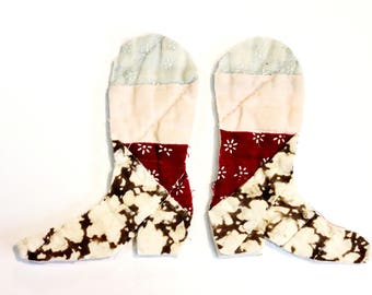 Cowboy Boot Appliques, Pair Prim Cotton Fabric Feedsack Vintage Patchwork Quilt Cowgirl Embellishments, Art Craft Supply itsyourcountry